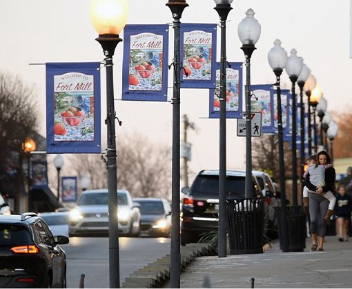Banners on light posts lining the streets